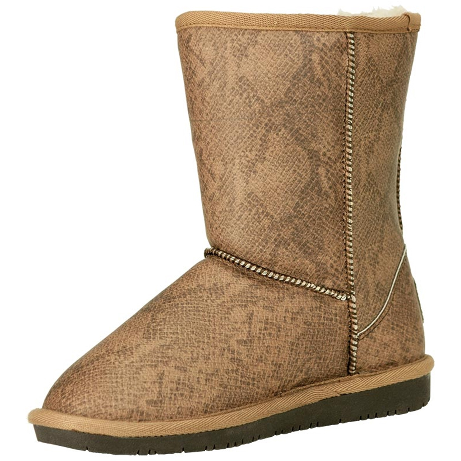 Bearpaw Women's Emma Short Dark Snake Print Ankle-High Suede Boot - 11M