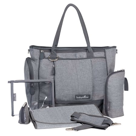 Babymoov Essential Bag - Diaper Tote with Changing Pad, Shoulder Strap and 3pc Baby Travel accessories (Smokey Gray)