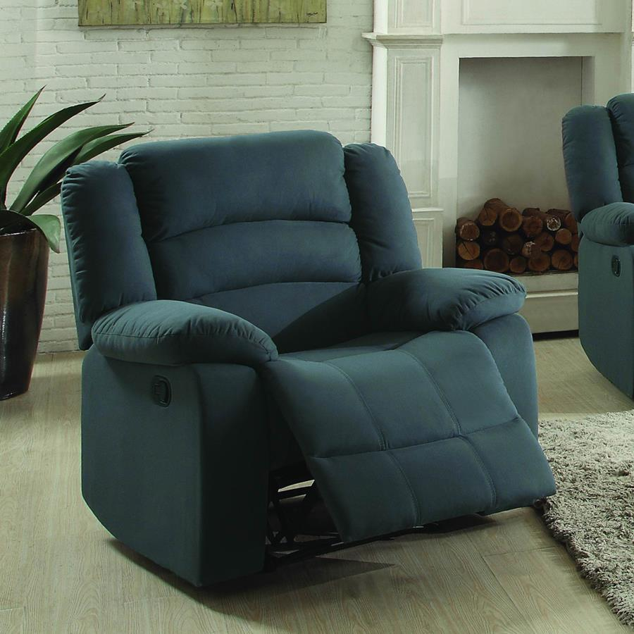 Homelegance Greenville Double Reclining Chair in Blue Grey Velvet