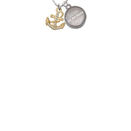 Goldtone Clear Crystal Anchor Sisters Are Best Friends Forever Engraved