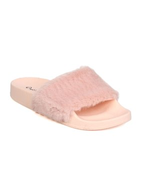 b3ff4938efa6 Product Image New Qupid Booboo-01 Women Faux Fur Open Toe Fuzzy Sandal