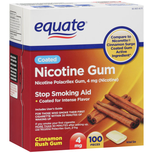 Equate Coated Gum 4mg Cinnamon, 100 count