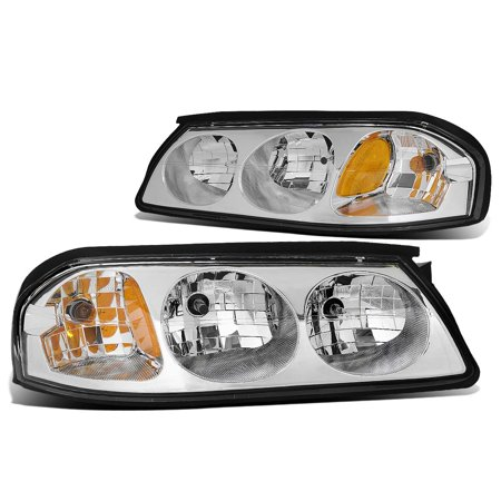 For 2000 to 2005 Chevy Impala 8th Gen Pair of Headlight Chrome Housing Amber Corner Headlamp 01 02 03 04 Left+Right