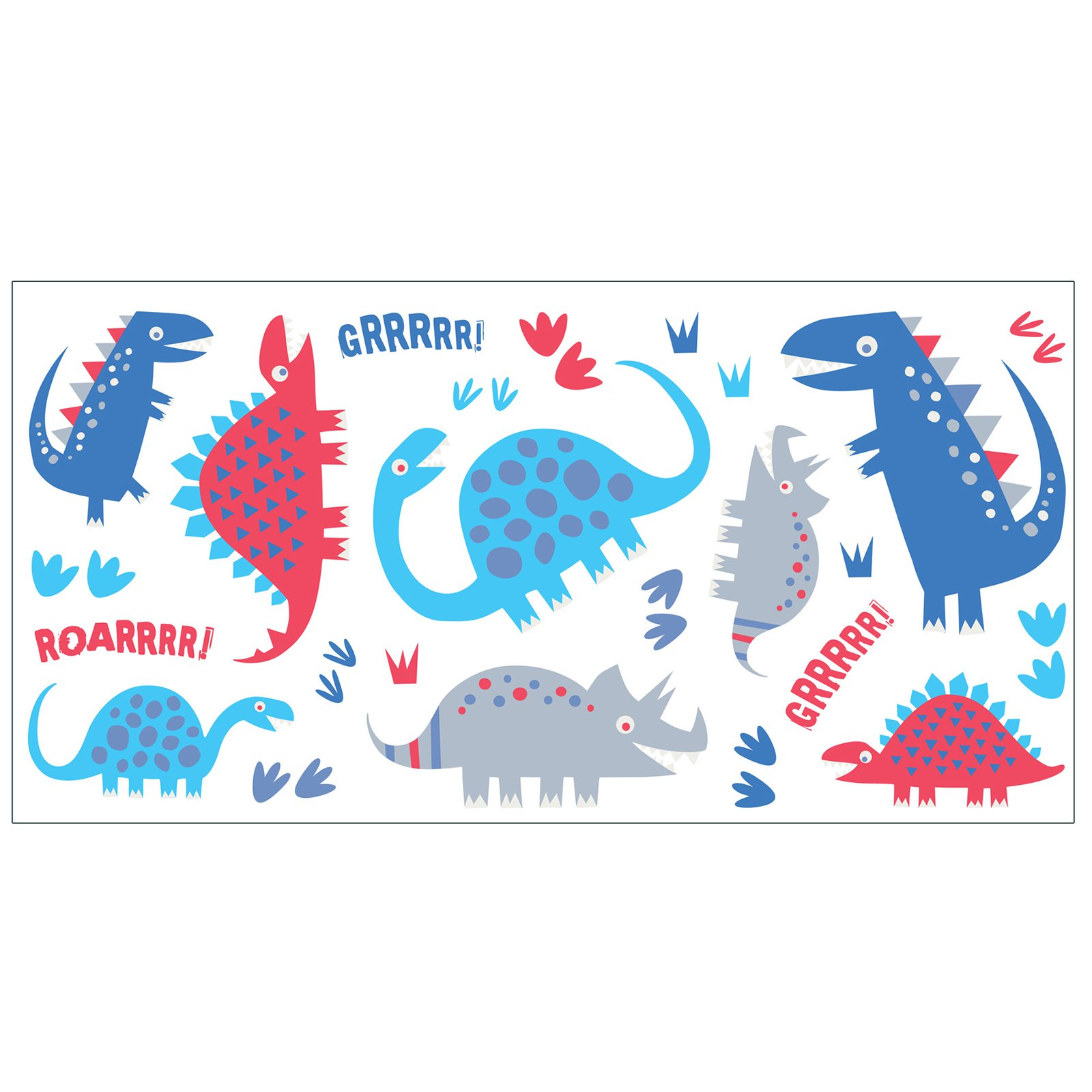 Fun4Walls Dino Blue Wall Stickers - Set of 48