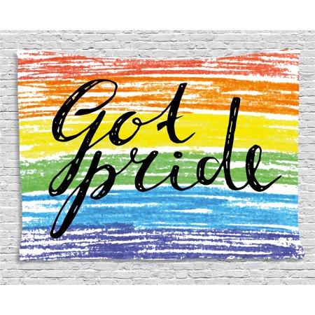 Pride Decorations Tapestry, Got Pride Sketchy Handwriting Grunge Crayon Paint International Event, Wall Hanging for Bedroom Living Room Dorm Decor, 60W X 40L Inches, Multicolor, by Ambesonne