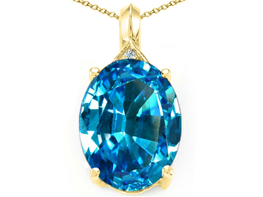 Tommaso Design Oval Genuine Blue Topaz Pendant Necklace by