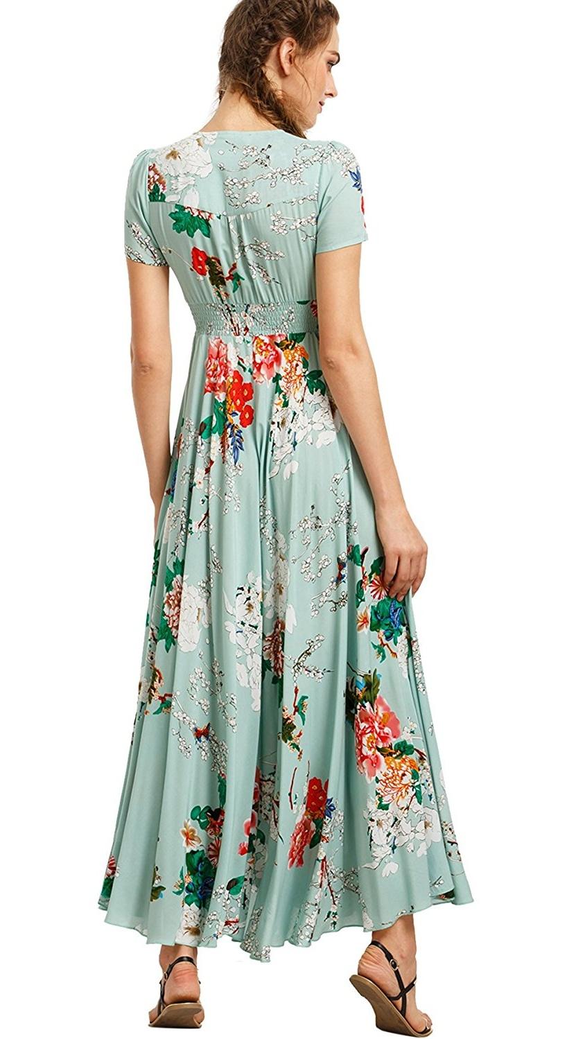 Light Green Flowy Summer dress, Women\'s Floral Print Long Maxi Dress ...