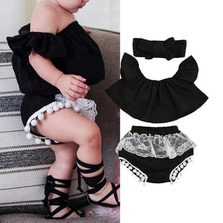 3PCS Infant Toddler Baby Girl Clothes Set Ruffle Off Shoulder Top T-Shirt+Lace Shorts Pants Bloomers+Bowknot Headband 3PCS Outfits