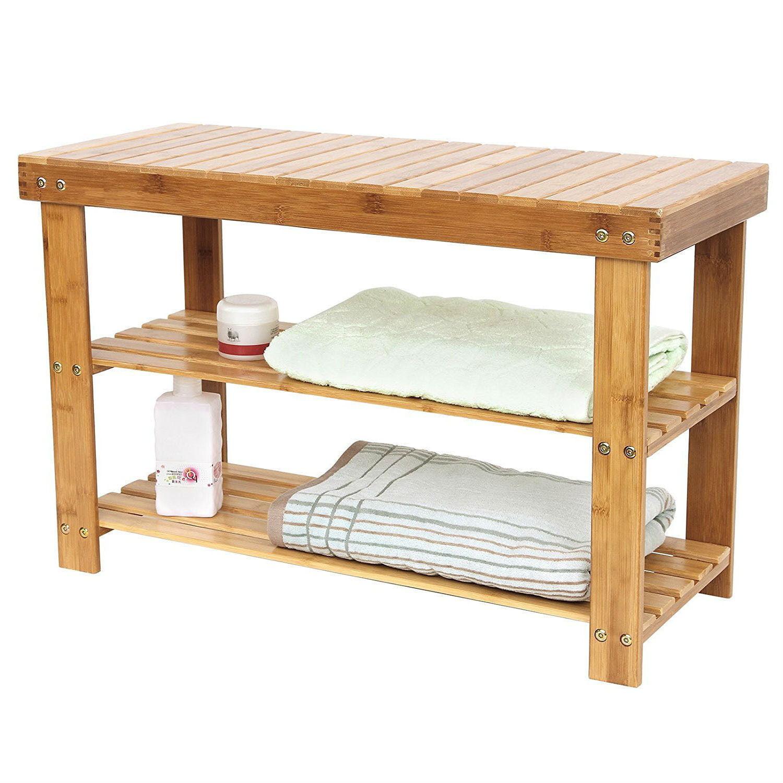 Zimtown Shoe Bench Rack 2-Tier Natural Bamboo Shelf Organizer Entryway Storage Wood Seat