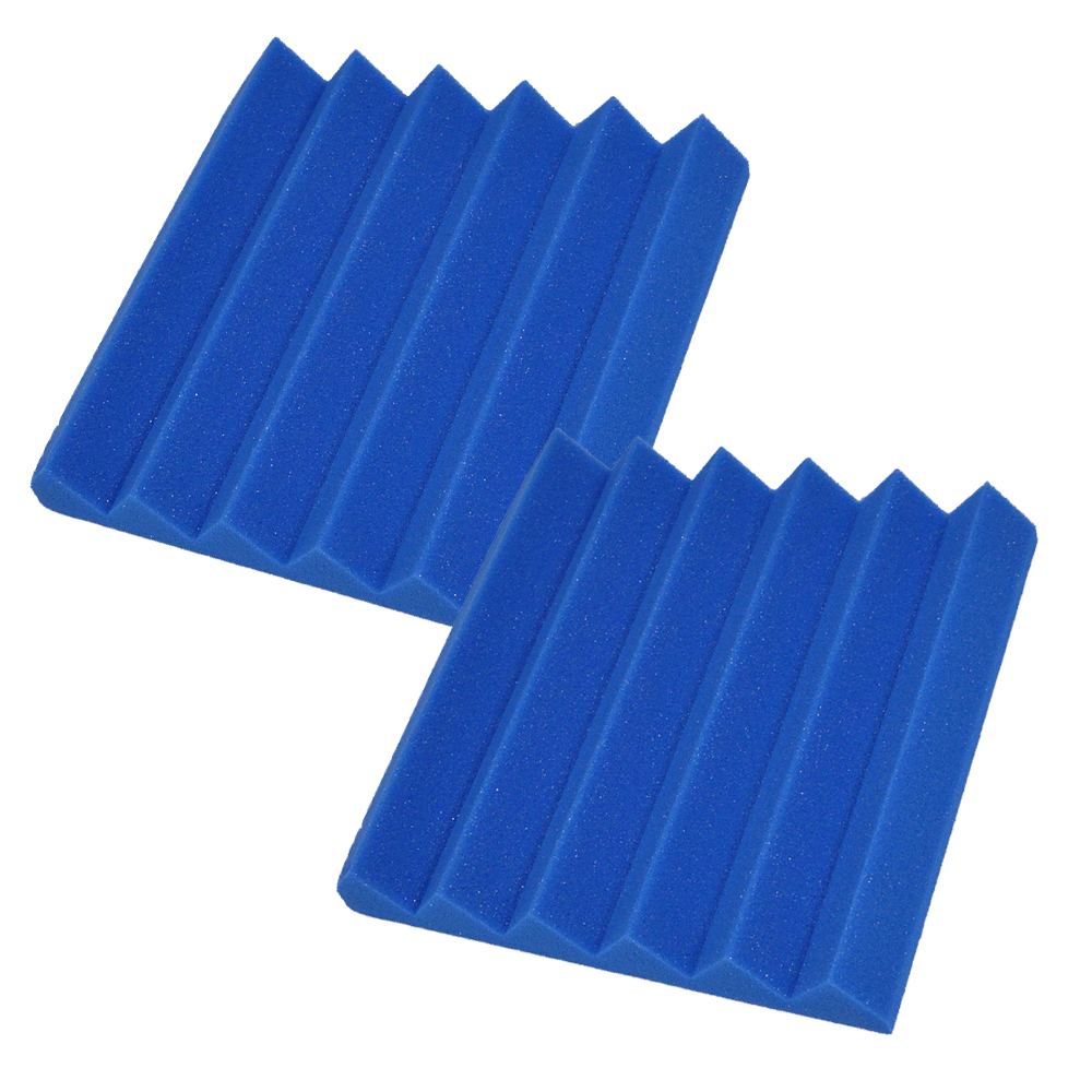 Seismic Audio 2 Pack Blue 2 Inch Studio Acoustic Foam Sheets Sound Absorbing Sound Dampening Tiles Blue - SA-FMDM2-Blue-2Pack