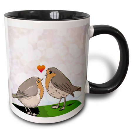 3dRose Robin red breast bird love bokeh - cute romantic birds art mom and chick mothers day or couple gift - Two Tone Black Mug, - Cute Coiples