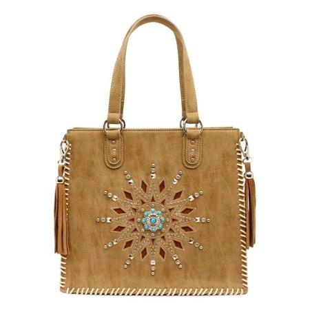 Blazin Roxx Western Handbag Womens Stella Tote Tassel Tan -
