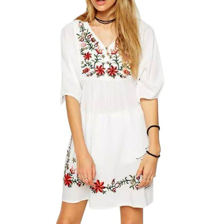 Women Mexican Ethnic Embroidered Pessant Hippie Blouse Gypsy Boho Mini Dress L](Diy Hippie Clothes)