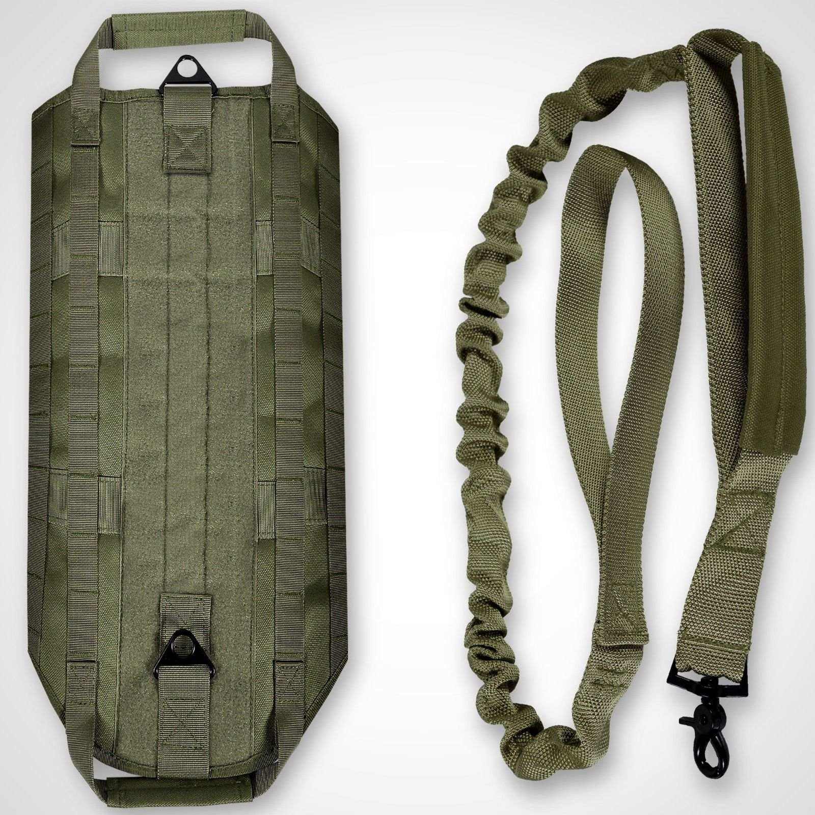 LIVABIT [ OD Green ] K9 Service Dog Tactical Molle Vest Harness + Matching Heavy Duty Bungee Leash Strap X-Small [ Also For Cats & Puppies ]