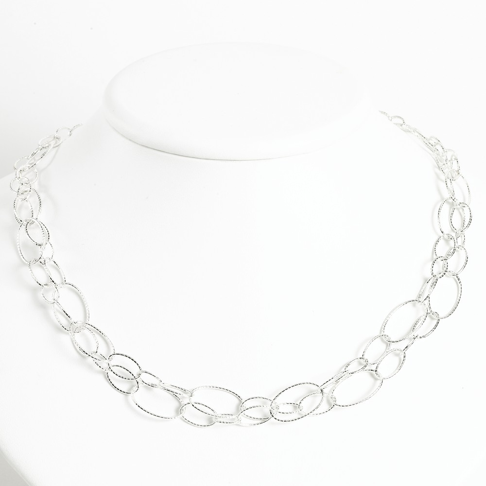Sterling Silver 18in Fancy Oval Link Necklace