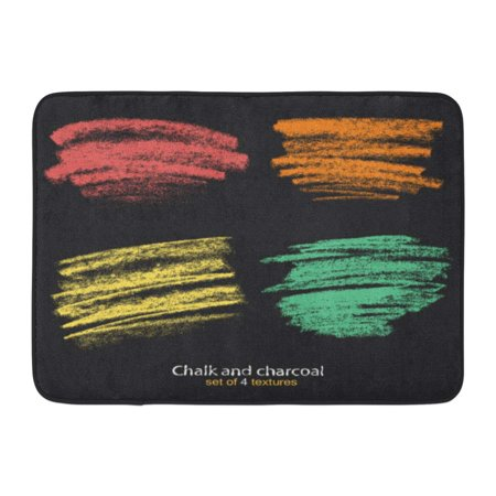 Brush Loop Mat Charcoal - GODPOK Strokes of Chalk and Charcoal Pastel Colors Brush High Resolution Designed for Registration Various Rug Doormat Bath Mat 23.6x15.7 inch