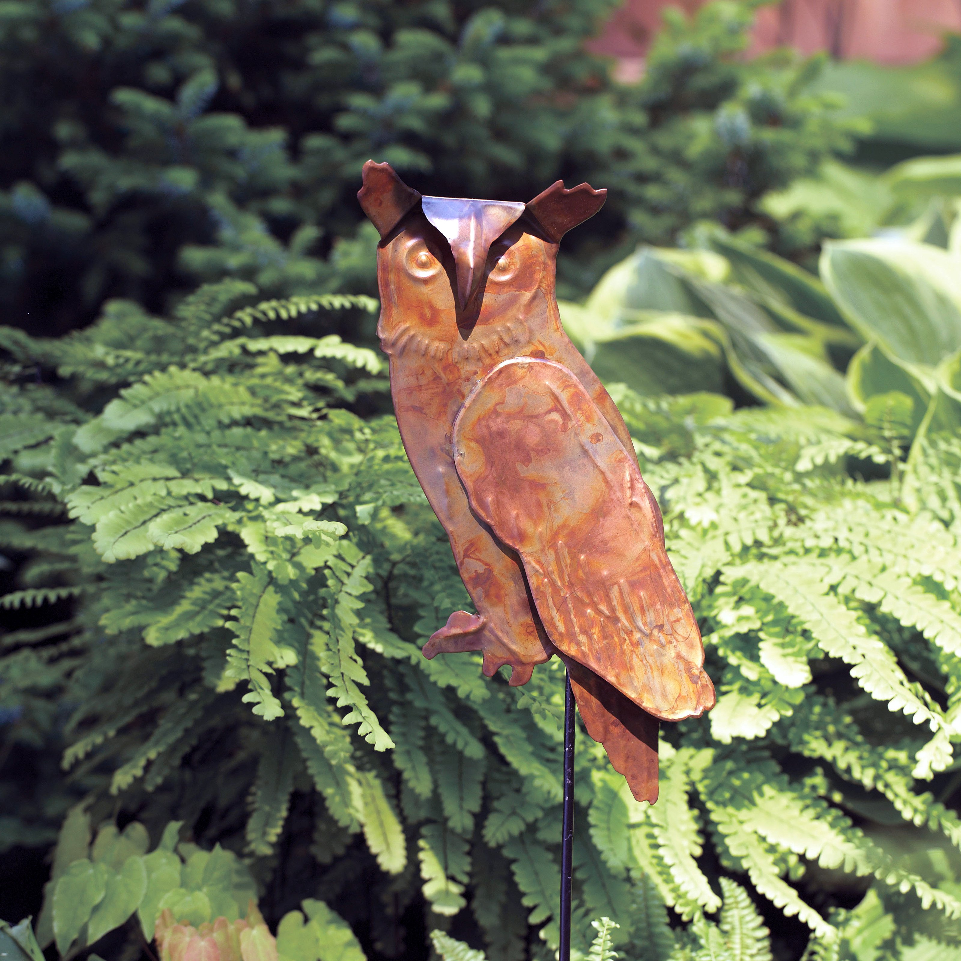 Ancient Graffiti Torched Copper Owl Garden Stake