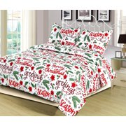 fullqueen holiday quilt bedding set christmas winter script red green and white