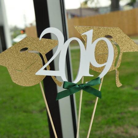 2019 Graduation Centerpiece. (1 Single 2019 Stick and 2 Graduation Cap Sticks). Green Graduation Party Supplies. Handmade in 1-3 Business Days. Graduation Party - Graduation Cap Centerpiece