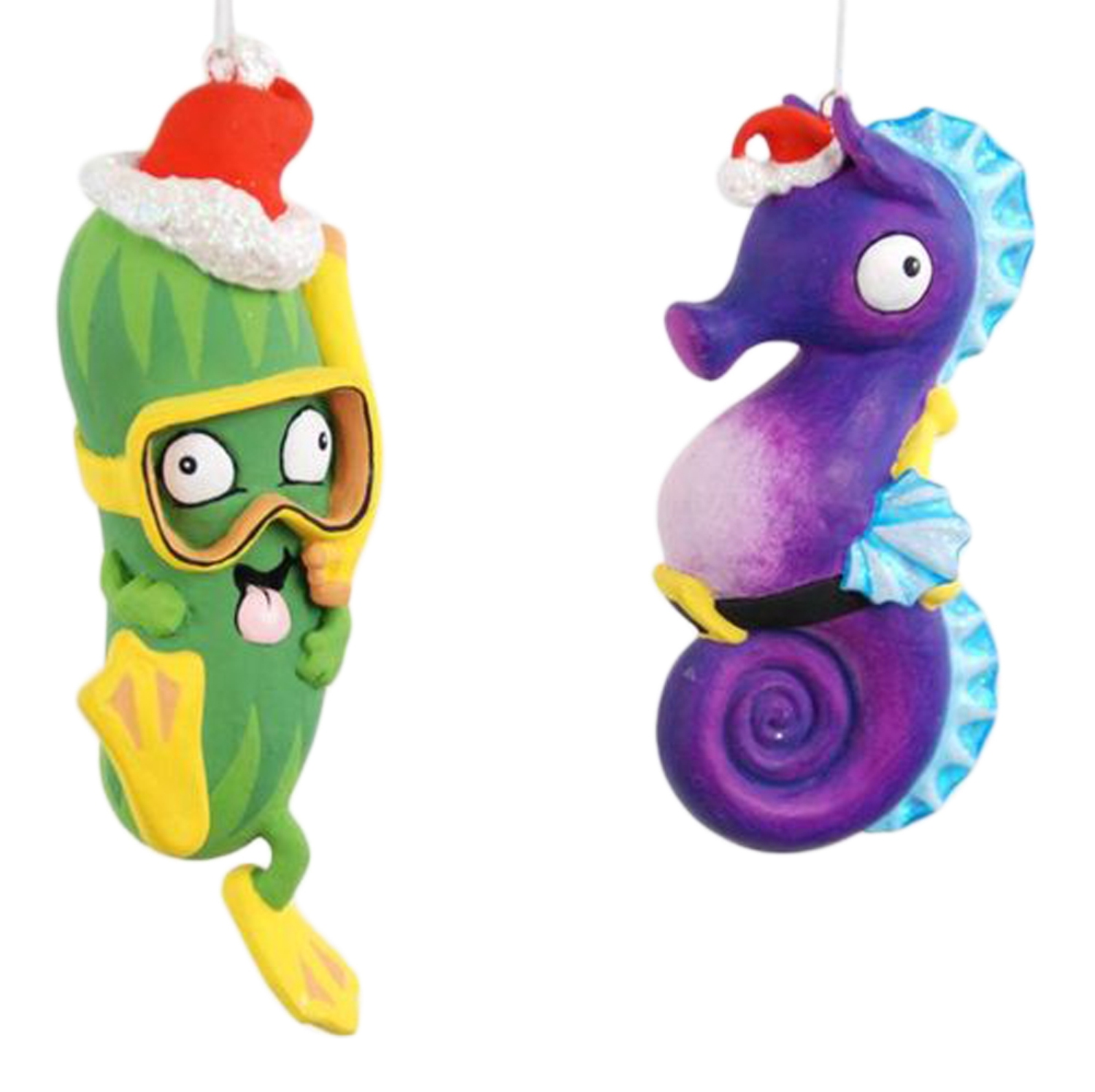 Coastal Purple Seahorse and Green Scuba Sea Cucumber Christmas Ornament Set of 2