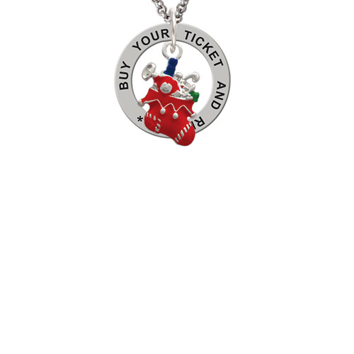 Red Christmas Stocking Buy Your Ticket And Ride Affirmation Ring Necklace