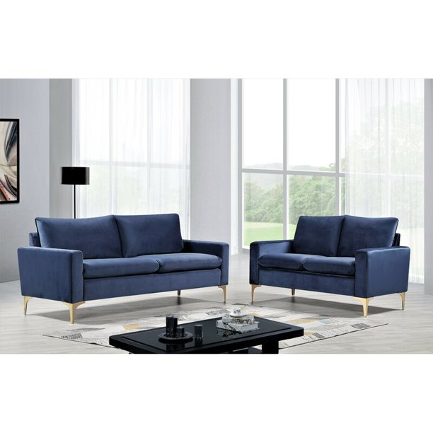 Buchan 2 Piece Living Room Set Dark Blue Walmart Com Walmart Com