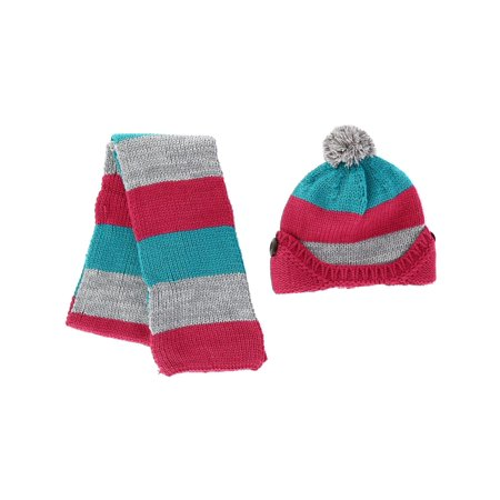 Knit Kids Scarf - Size one size Kids' Knitted Scarf and Beanie with Pom Winter Set, Pink