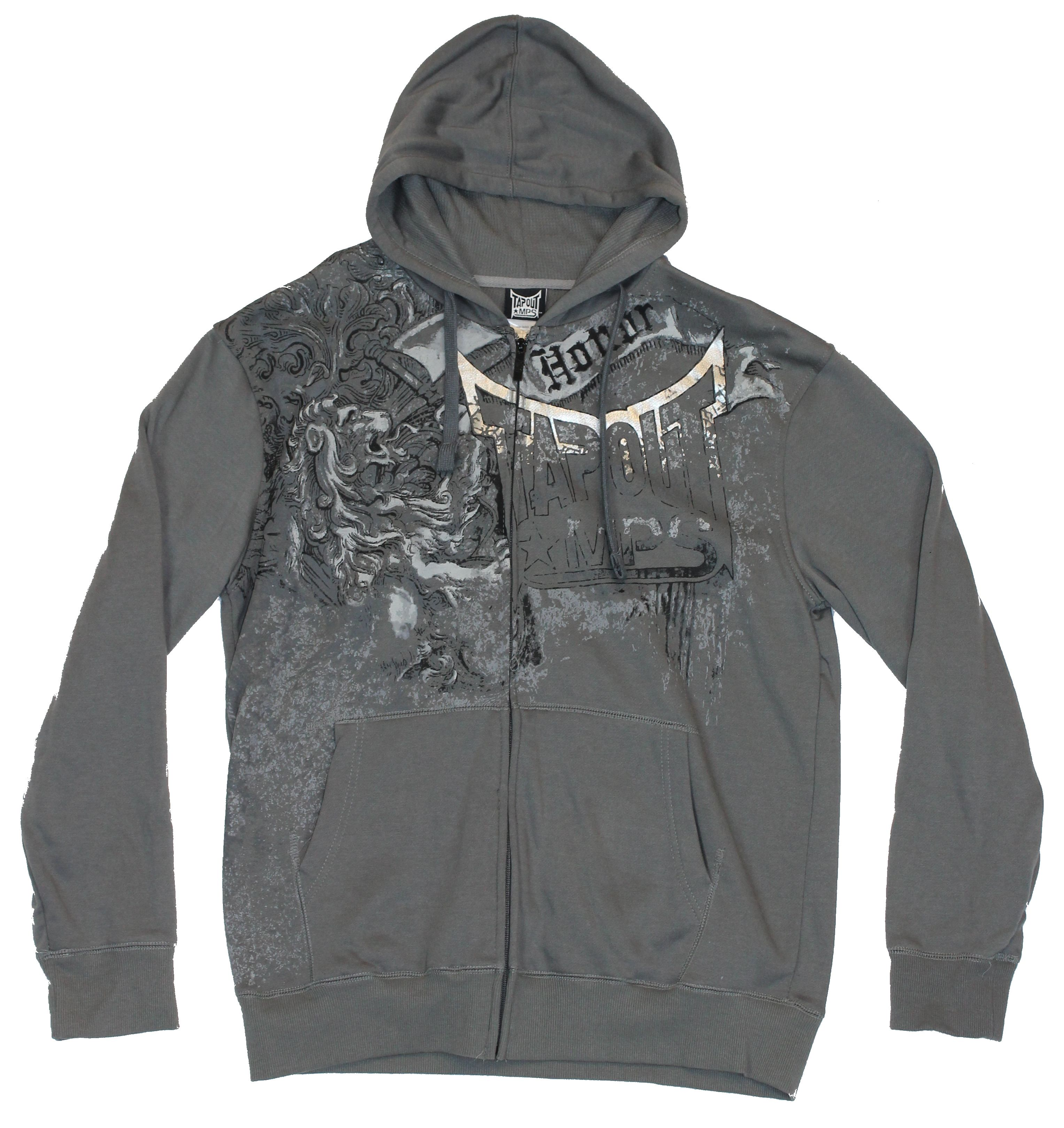 """Tapout Mens Hoodie Sweatshirt - Faded """"Honor"""" Design on Gray"""