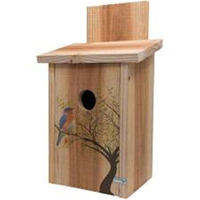 Decorative Bird in Tree Design on Cedar Blue Bird House