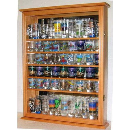Large 72 Shot Glass Display Case Cabinet Rack Holder-Glass Door, Mirror Back (Oak Finish)