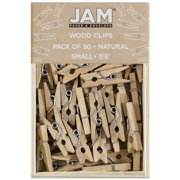 JAM Wood Clothespins, Natural, 50/Pack, Small 7/8 Inch Clips