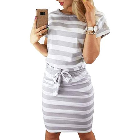 Women's Casual Short Sleeve Knee Length Belted Dress with Pockets Sleeve Belted Maternity Dress