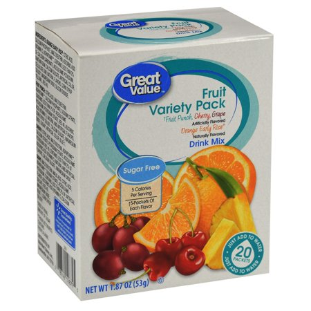 Great Value Sugar-Free Assorted Fruit Drink Mix Variety Pack, 1.87 Oz., 20 Count (Frozen Smoothie Packs)