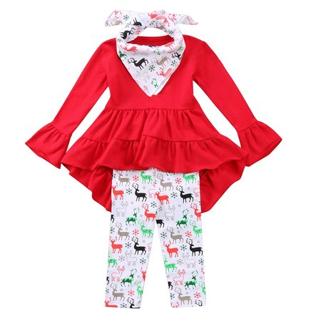 Christmas Baby Clothes Set Toddler Kids Girls Ruffles Irregular Mini Dress Tops+Long Pant Scarf Clothing Outfit Set - Good Christmas Outfits