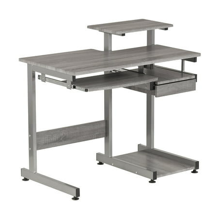 Techni Mobili Complete Computer Workstation Desk, Gray Wood Finish - Complete Office Station