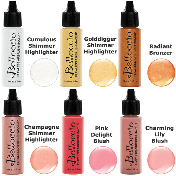 Belloccio Airbrush Makeup 6 Color BLUSH SHIMMER BRONZER SHADES SET Highlighter