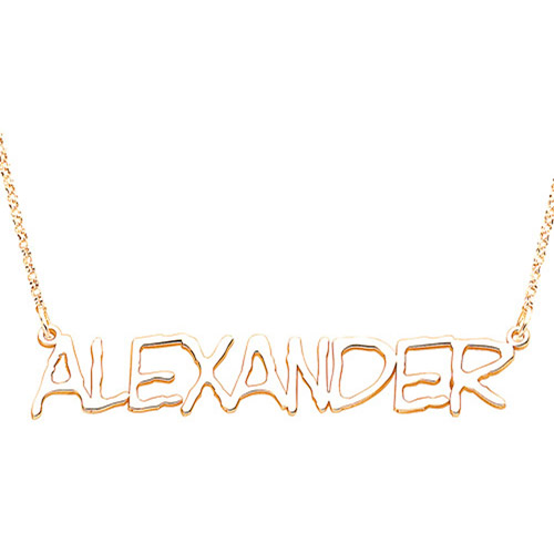 Personalized Capitalized Name 14kt Gold-Plated Necklace, 18