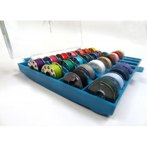 Dritz Bobbin Storage Box - Holds 32 Machine Bobbins - Plastic - Clear Lid