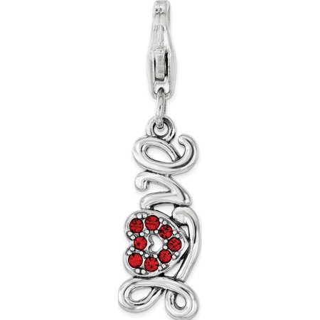 925 Sterling Silver Red Swarovski Love with Lobster Clasp Pendant / Charm - image 1 of 1