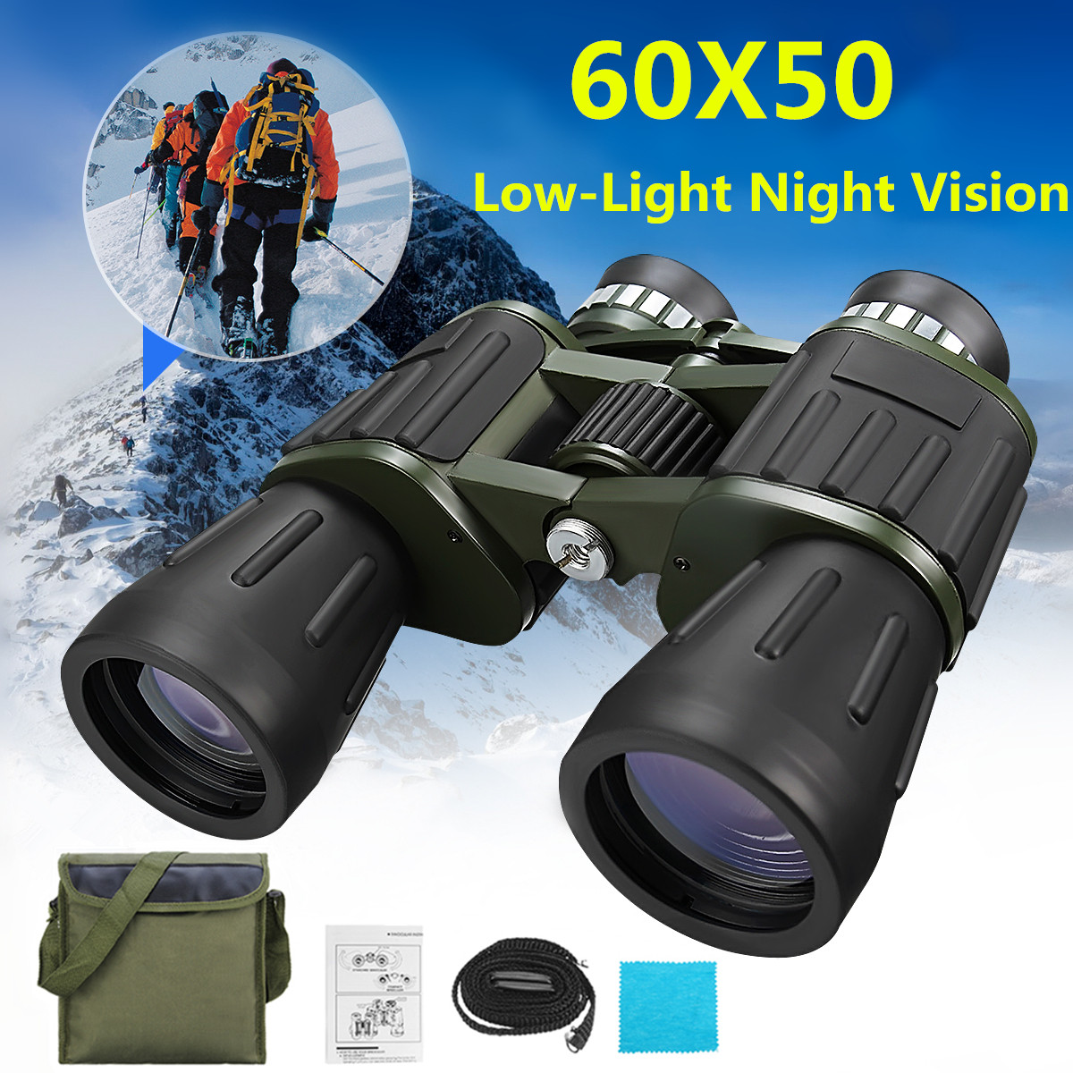 60x50 Magnification Military Army Zoom HD Binoculars Outdoor Hunting Camping Telescope with Low-Light Night Vision