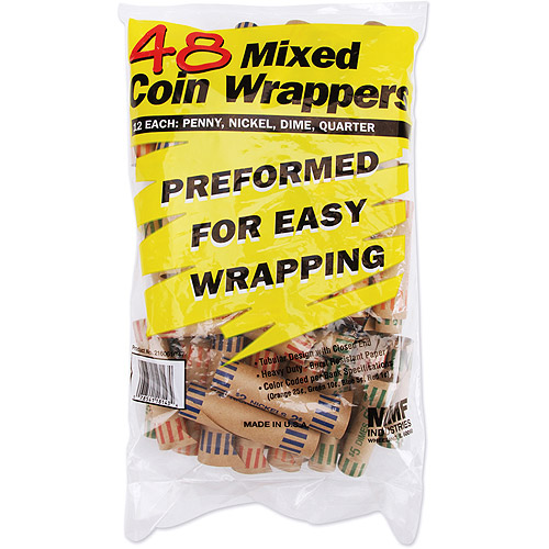MMF Industries Tubeular Coin Wrappers 48/Pkg-Assorted-Penny/Nickel/Dime/Quarter