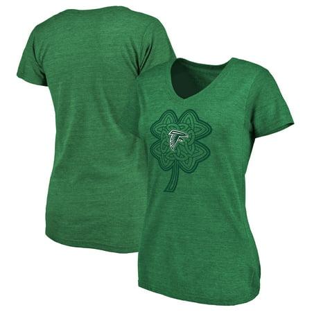 Atlanta Falcons NFL Pro Line by Fanatics Branded Women's St. Patrick's Day Celtic Charm Tri-Blend V-Neck T-Shirt - Green Enamel Atlanta Falcons Charm
