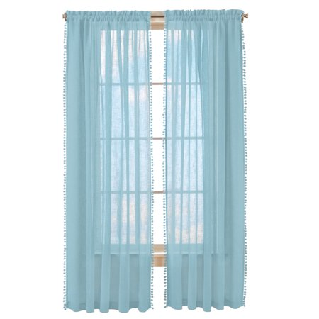 Wallace Pom-Pom Trim Linen-Like Curtain Panel, 52