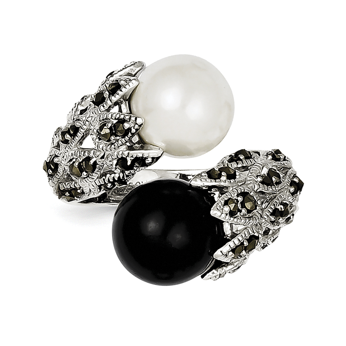 Sterling Silver Marcasite Black and White FW Cultured Pearl Ring QR2184