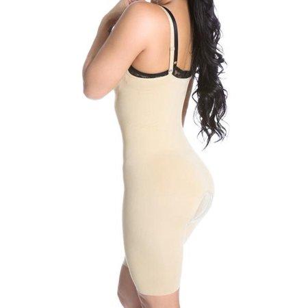 SHAPEX Slimming Mid Thigh Full Bodysuit Curve Hip Tummy Body Shaper 3 In 1 Control full Strappy Black M
