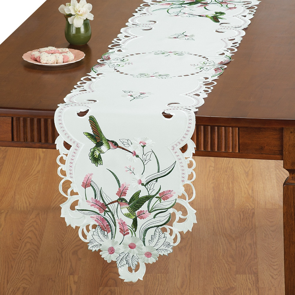 Embroidered Floral Hummingbird Table Linens, Square by LIVEDITOR LIGHTING