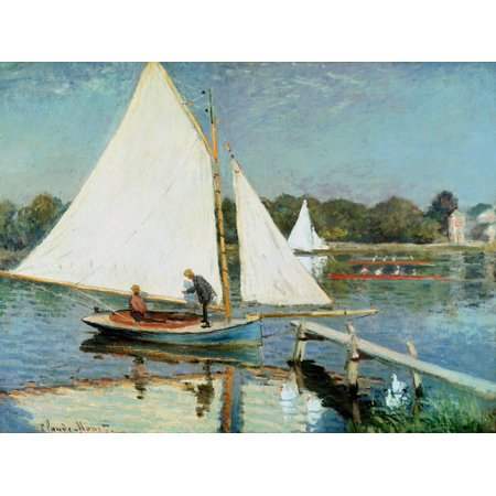 Sailing at Argenteuil, c.1874 Monet Impressionism Nautical Sailboat Scenic Coastal Landscape Print Wall Art By Claude