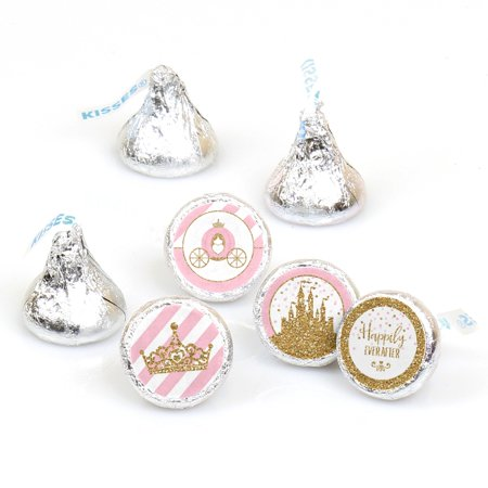 Little Princess Crown - Pink and Gold Princess Baby Shower or Birthday Candy Sticker Favors-Fit Hershey Kisses-108 Ct - Princess Birthday Themes