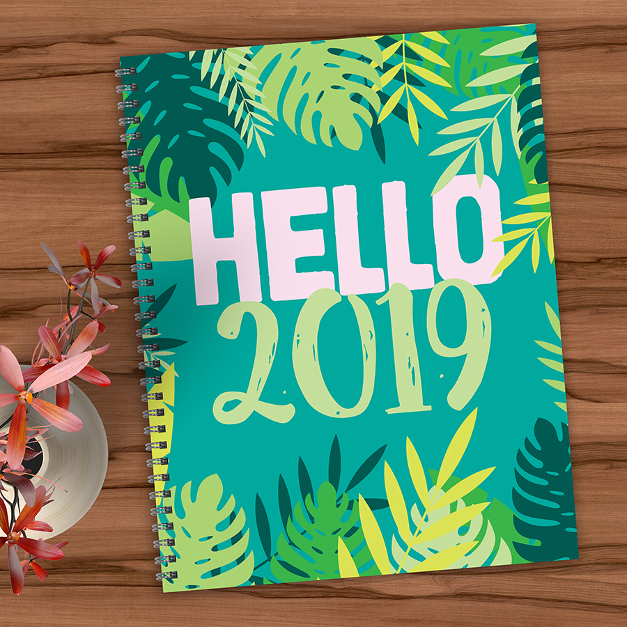 "2019 Hello 9"" x 11"" January 2019-December 2019 Large Weekly Monthly Planner"