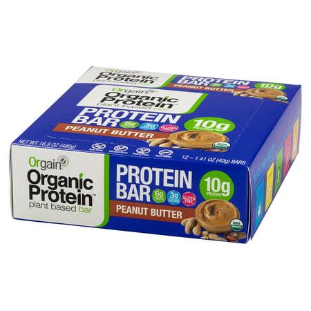 Orgain Organic Protein Bar, Peanut Butter, 10g Protein, 12 Ct